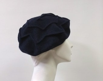 0b9b5a39abdbf Navy Blue Wool Felt Beret