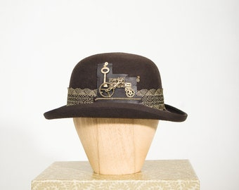 Steampunk Brown and Gold Dressed Bowler Hat efadac4dfbe1
