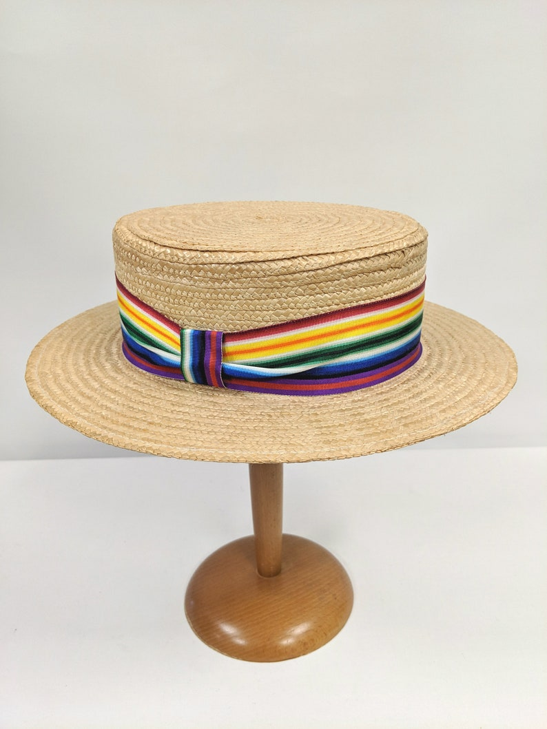 b28b500c Vintage Straw Boater Hat with Rainbow Band 1970's Hat | Etsy