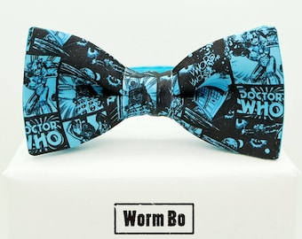 Doctor Who Bow tie, Tardis, Blue and black bowtie