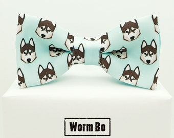 b915f3474579 Huskies Bow tie, Light blue bowtie, Animals pattern, Dogs print, huskie dog  show