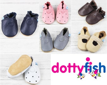 8d67f52a7862 Dotty Fish Soft Leather Baby Shoes. Toddler Shoes. Non-Slip. Indoor  Slippers. Pram Shoes. Classic Plain Styles for boys and Girls