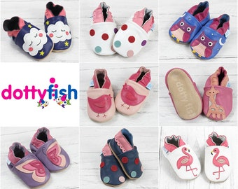 e030e3f48398 Dotty Fish Soft Leather Baby Shoes. Toddler Shoes. Non-Slip. Indoor  Slippers. Pram Shoes. Pretty Animal Designs for Girls