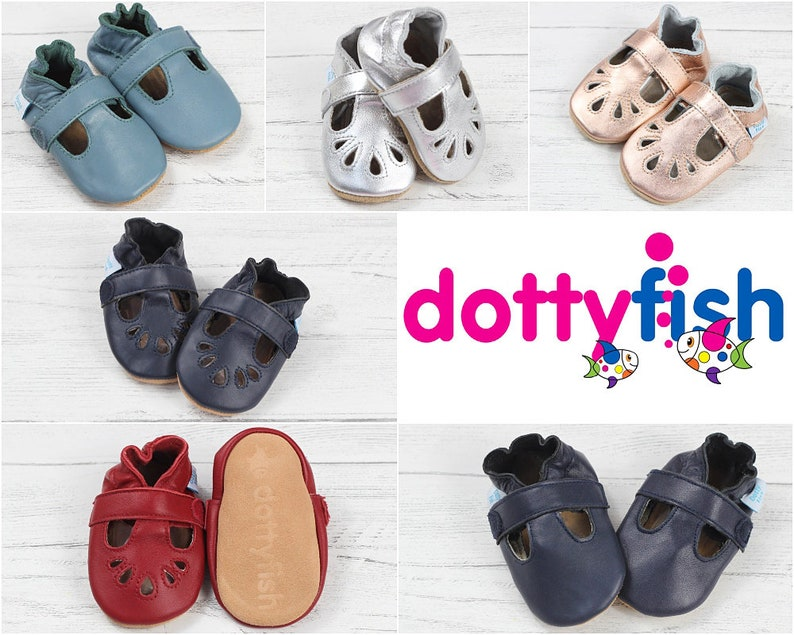 84d04edc8b162 Dotty Fish Soft Leather Baby Shoes. Toddler Shoes. Non-Slip.