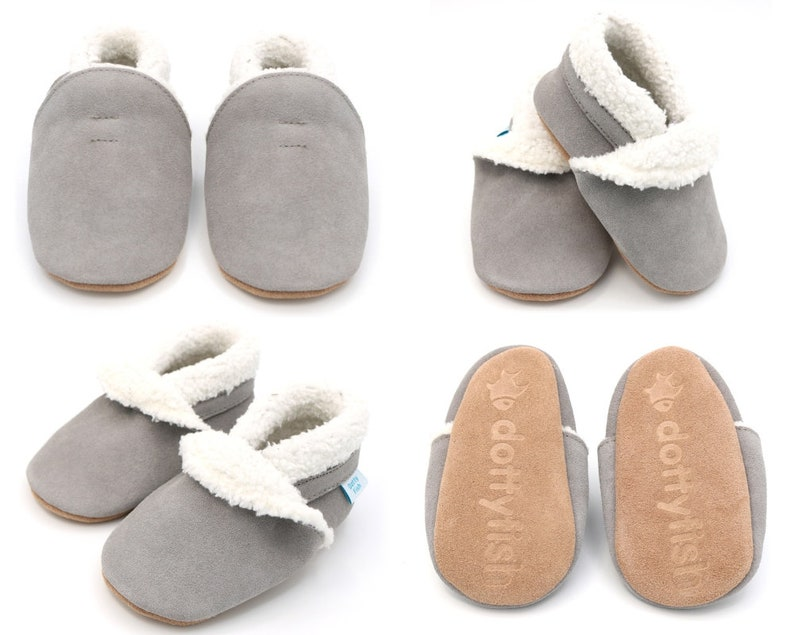 5087c53871b9 Dotty Fish Soft Suede Baby Slippers. Toddler Slippers.