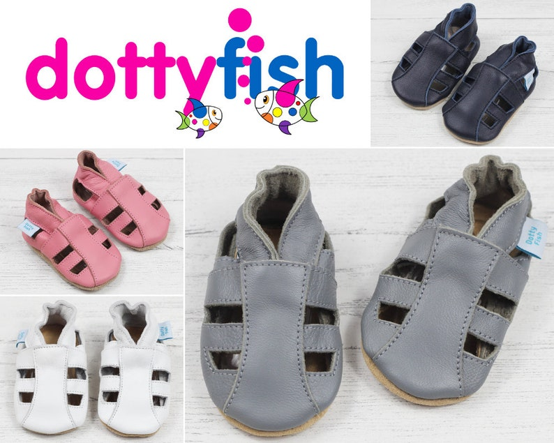 c20400711acb Dotty Fish Soft Leather Baby Sandals. Toddler Sandals. image 0 ...