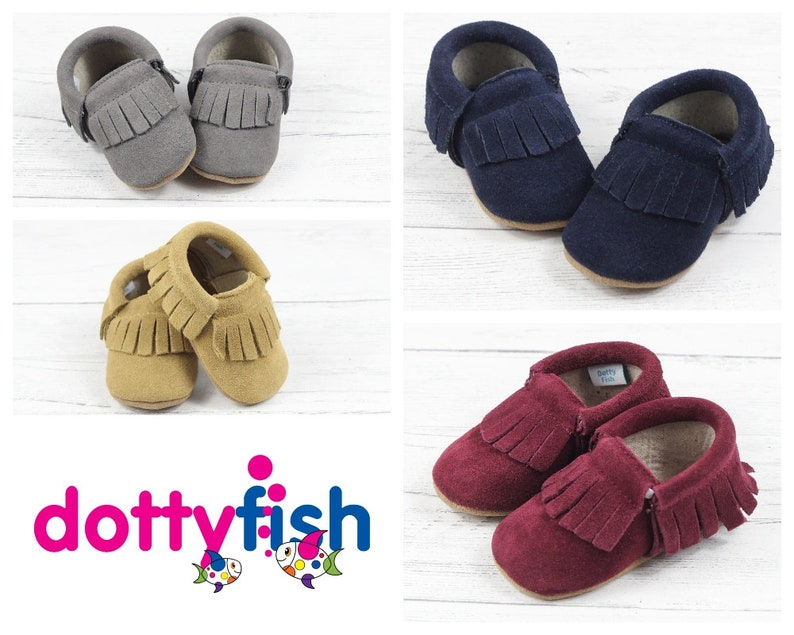9293efd6b944 Dotty Fish Moccasins. Soft Sole Suede Baby Shoes. Unisex in image 0 ...