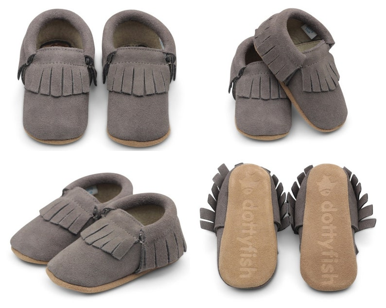 333abfd2e1d6 Unisex in image 1; Dotty Fish Moccasins. Soft Sole Suede Baby Shoes. Unisex  in image 2 ...