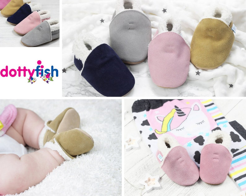 5668dff86341 Dotty Fish Soft Suede Baby Slippers. Toddler Slippers. | Etsy