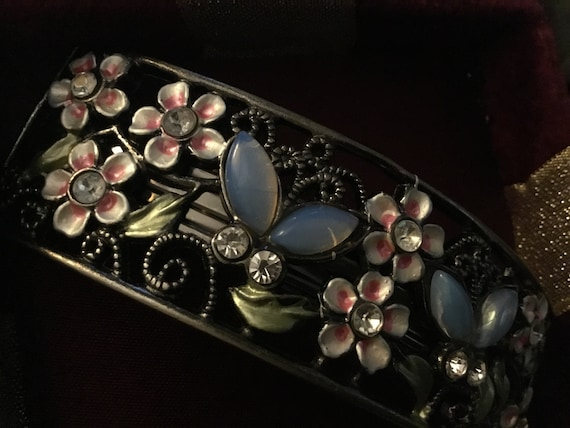 Enameled Flower Hair Barrette