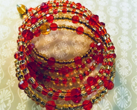 Festive Red and Gold Glass Bead Bracelet