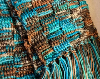 Crochet Turquoise and Brown Scarf
