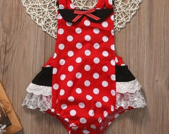 27424eec85a Minnie Mouse inspired baby girls romper (Minnie Collection)