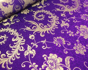Silk Brocade by the Metre Exotic Silks Violet Spirals and Flowers