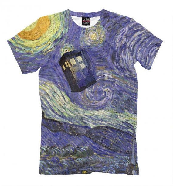 Dr Who TARDIS Van Gogh Style T-shirt, men or women