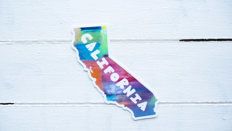 California in Color Vinyl Sticker, Colorful California state sticker  small  sticker, Water Bottle Sticker, Laptop Decal, phone case sticker