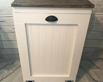 Handcrafted Primitive Pine Wood Trash Can