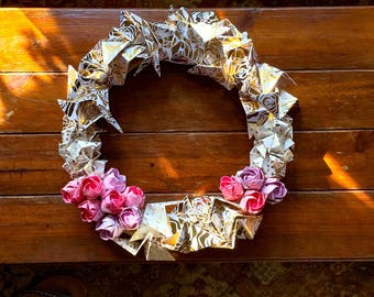 Rose and Gold Origami Wreath