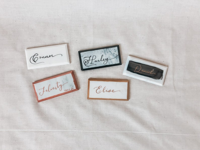 Hand Calligraphy Escort Card Marble Tile Place Card Rectangle