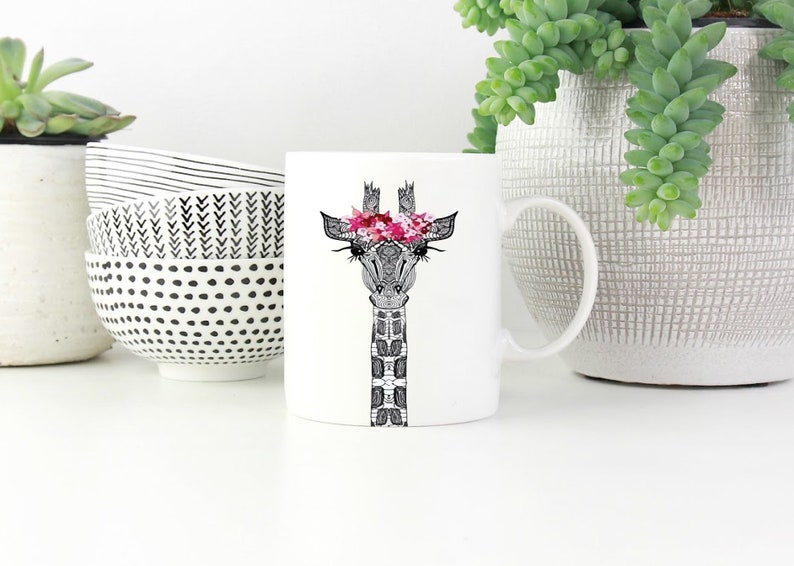 Cute Giraffe Animal Lovers Coffee Mug Gift For Her Idea