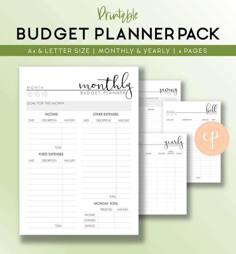 Printable Budget Planner Pack Financial Planner Template Etsy