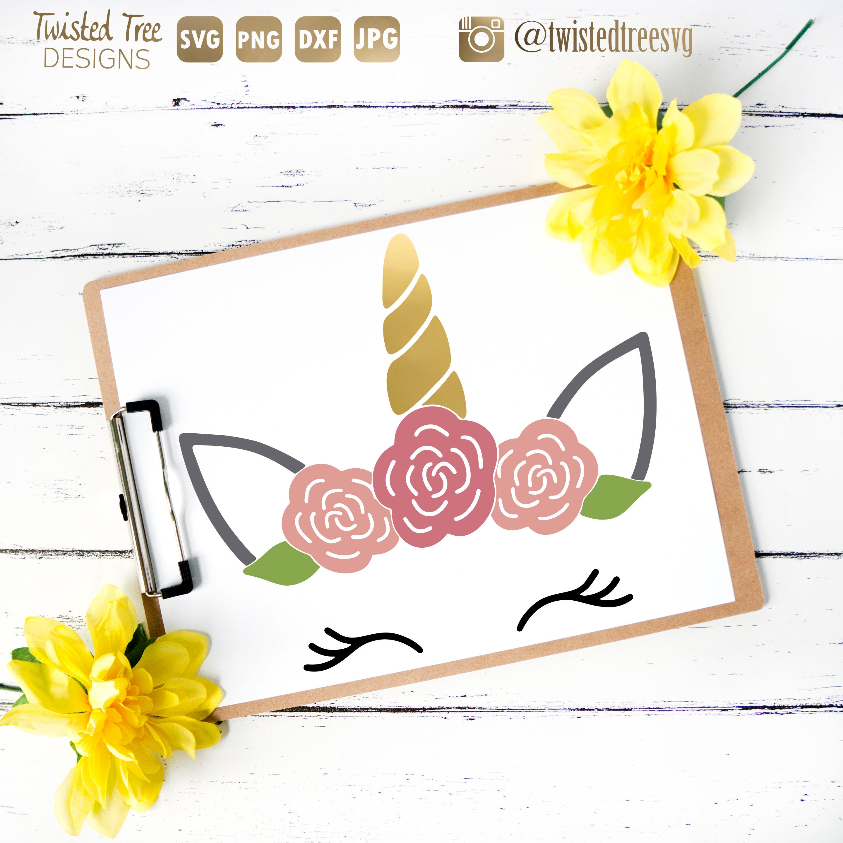 Unicorn SVG Cut File Unicorn Flower Crown Vinyl Printable  e4e8a7bba46
