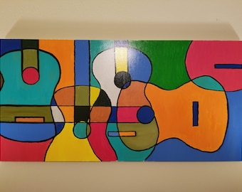 Abstract Guitars,Guitar Painting,MusicArt,Guitar art, 24 in x 48 in