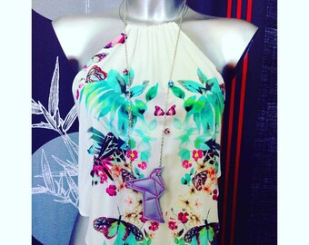 Embroidered origami birds necklace