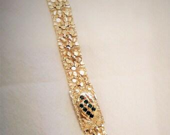 18k Gold Bracelet with Emerald Stones - Mens