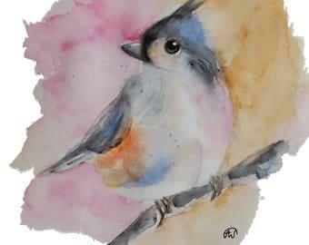 Cute titmouse chickadee Bird art watercolor print