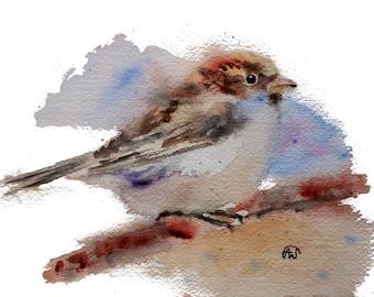 Cute Sparrow Bird art watercolor print
