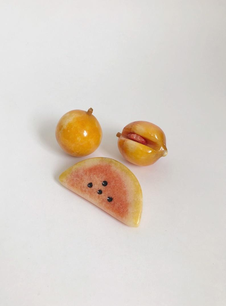 Sculpted Marble Stone Fruit Set Shelf Decor MCM Vintage Set of 3 Hand Carved Alabaster Stone Fruit