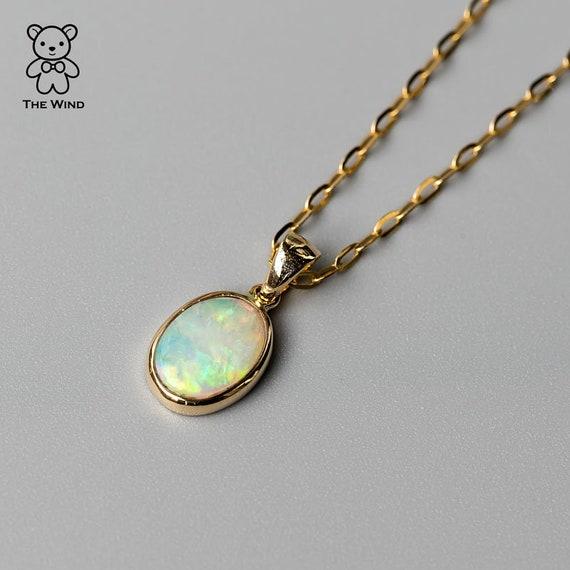 Minimalist Rainbow Australian Doublet Opal Pendant Necklace 14K White Gold Birthday Gift Anniversary Oval Charm
