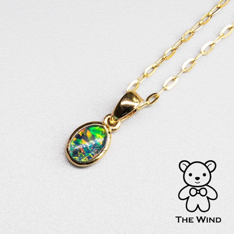 Small Minimalist Oval Australian Triplet Opal Pendant Necklace 14k Yellow Gold Charm Anniversary Bridesmaid Present Holiday Gift for Couples