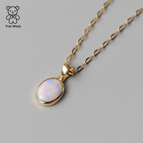 Minimalist Oval Natural Australian Doublet Opal Pendant Necklace 14k Yellow Gold