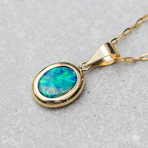 Round Natural Australian Doublet Black Opal Pendant Necklace 14k Yellow Gold