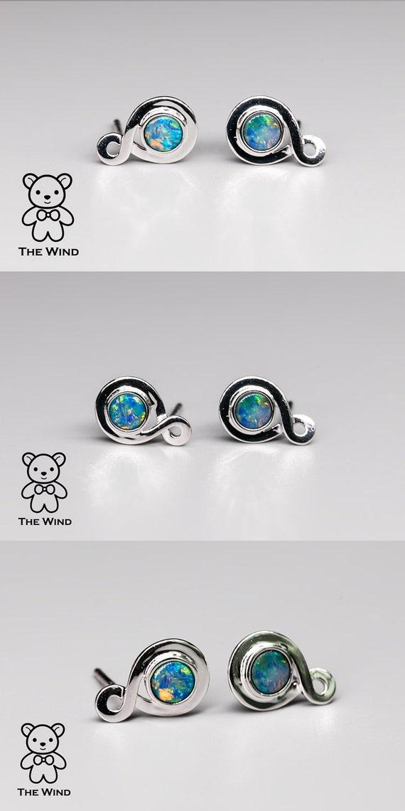 Dainty Australian Solid Opal Round Shaped Stud Earrings 925 Sterling Silver