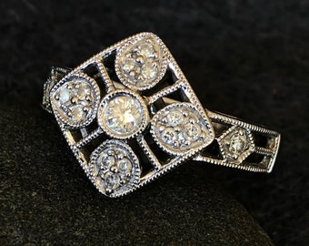 Vintage Art Deco Style Diamond Ring in 18K White Gold,  Size 6.5 Diamond Ring