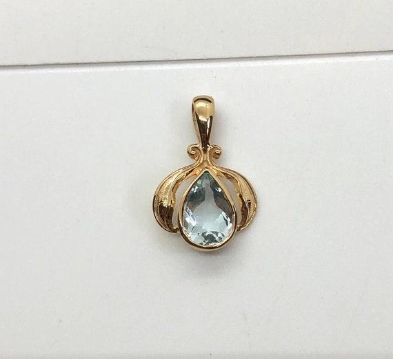 Antique Natural Pear Aquamarine Pendant in 14K Yel