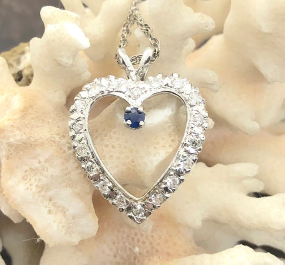 Diamond and Sapphire Necklace, 19 DIAMONDS, 14K Wh