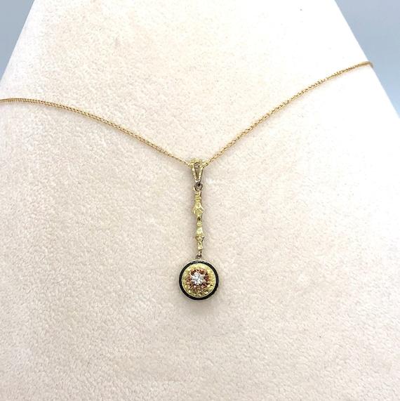 Antique Diamond Lavalier Pendant with Black Enamel