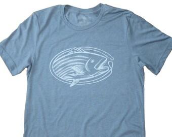 Vintage Striped Bass Fish Print T-Shirt - Heather Slate