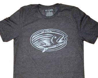 Vintage Striped Bass Fish Print T-Shirt - Heather Charcoal