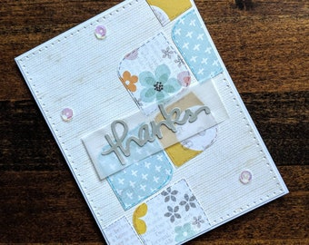 Handmade Thank you card appreciation card personalized card greeting card quilt card thanks friend card thank you for kindness cute card