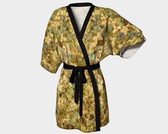 47c45de9fb Green And Yellow Floral Bridesmaid Robe   Wedding Kimono   Women s Bridal  Kimono   Japanese Floral Kimono   Kimono Loungewear   Floral Robe