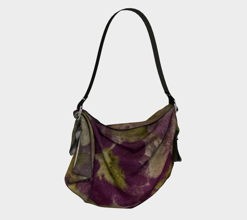 Origami Tote*Purple Cosmos Pressed Flower Design*Floral Tote Bag*Scarf*Shawl*vintage botanical design