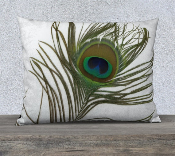 Man Cave Peacock Feather On White Velveteen Or Canvas 26x20 Pillow Cover Home Decor Pillowcase Update Nature