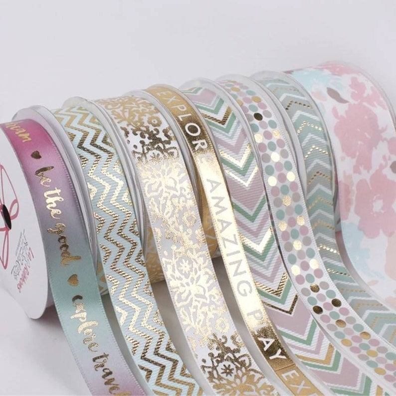 16mm Watercolor Printing Satin Wrapping Ribbons Be the good LBY006