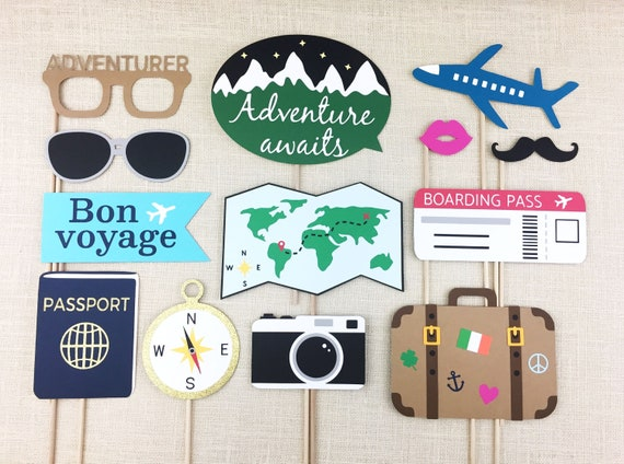 Travel Photo Booth Props Going Away Party Farewell Bon Etsy