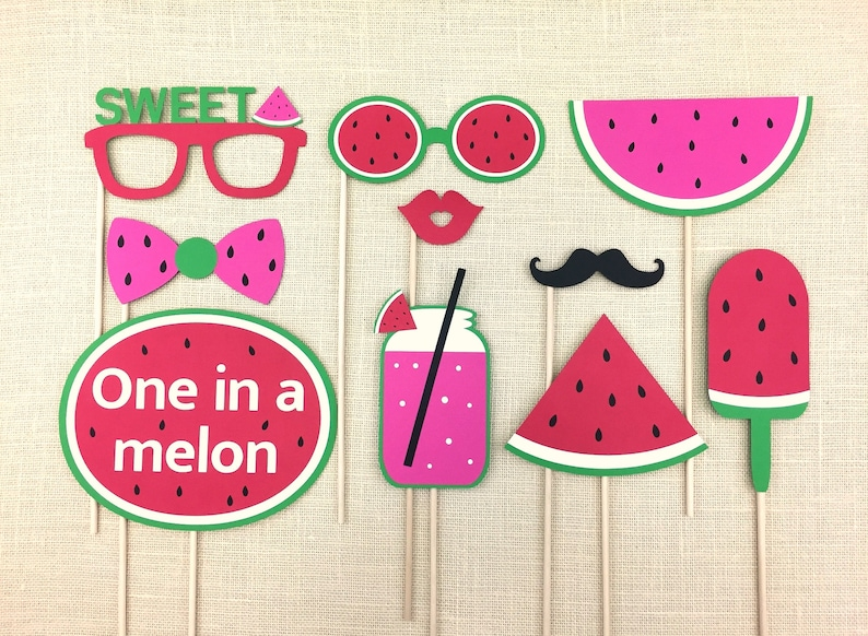 Watermelon Theme Birthday Props  One in a melon  First Birthday Photo Booth Props  Sweet  Summer Party  FULLY ASSEMBLED  10 PC